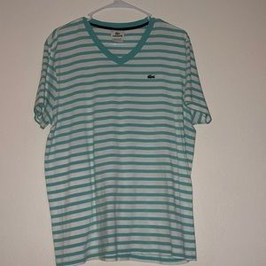 Lacoste light blue & white stripped shirt size 6